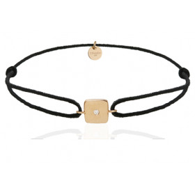 Bracelet cordon et jeton or jaune 18 carats et diamant Thomas Escudier