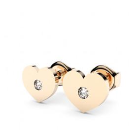 Boucles d'oreilles or jaune 18 carats et diamants Thomas Escudier cœur