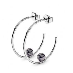 Boucles d'oreilles or blanc 18 carats et perles noires Thomas Escudier