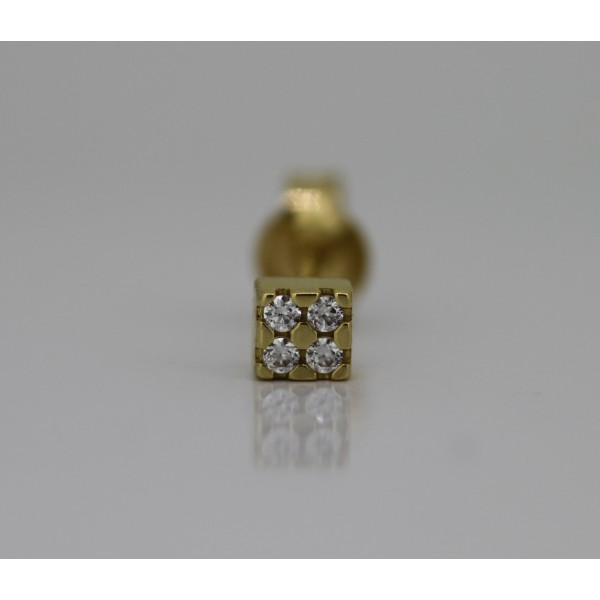 Boucle d'oreille or jaune et zirconiums carrée pour homme