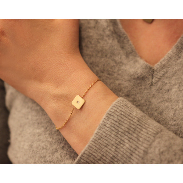 Bracelet or jaune 18 carats et diamant 0,03 carat Thomas Escudier