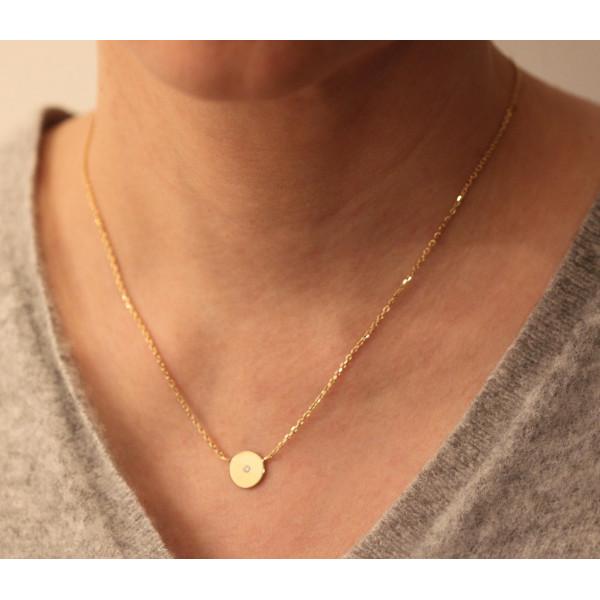 """Collier 42 cm avec diamant 0,03 carat """"Adam & Eve"""" or jaune 18 carats Thomas Escudier"""