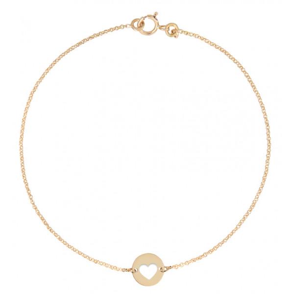 Bracelet Mistinguette en or jaune 18 carats modèle cœur - 17 cm