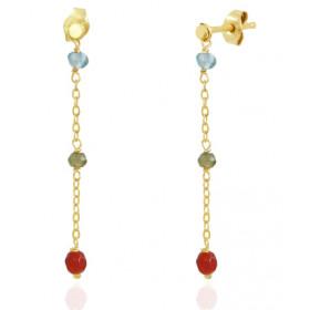 Boucles d'oreilles Mistinguette en or jaune 18 carats et pierres fines