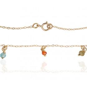 Bracelet Mistinguette en or jaune 18 carats et pierres fines- 17 cm