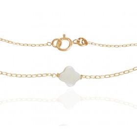 Bracelet Mistinguette en or jaune 18 carats et nacre en trèfle - 17 cm