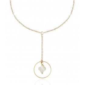 Collier Mistinguette en or jaune 18 carats modèle trèfle - 42 cm
