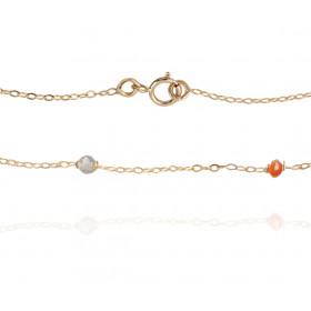 Bracelet Mistinguette en or jaune 18 carats avec cornaline et labradorite - 17 cm