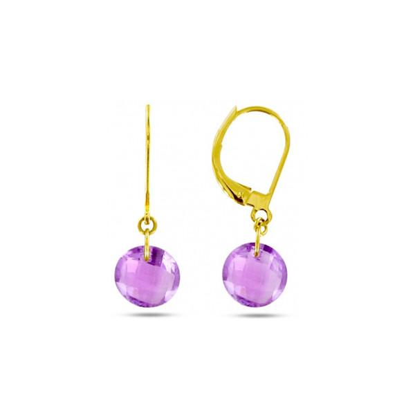 18K Gold filled-Amethy Fleur Creux Rivets violet Parti Dame Boucles d/'oreilles Créoles