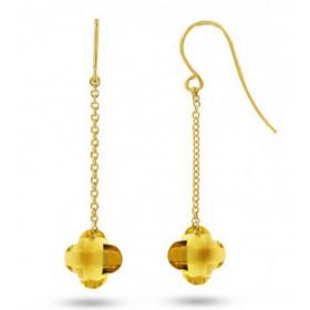 boucles d'oreilles femme or jaune 18 carat et citrine fleur