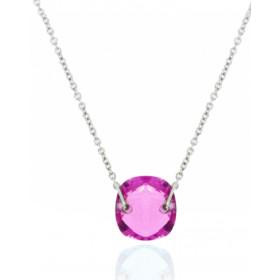 Chaine femme or 18 carat et quartz rose topaze coussin