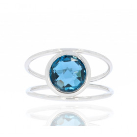 "Bague or blanc 18 carats et topaze blue London ""serti clos"""