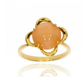 Bague or jaune 18 carats et pierre de lune pêche