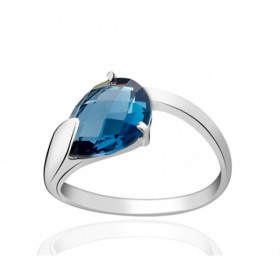 Bague or blanc 18 carats et topaze blue London 11 x 9 mm