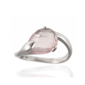 Bague or 18 carats et quartz rose