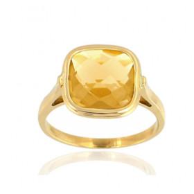 Bague or jaune 18 carats et citrine 10 mm pour femmes