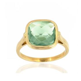 Bague or 18 carats et quartz vert 10 mm pour femmes