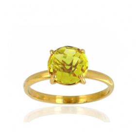 Bague or jaune 18 carats et citrine 8 mm pour femmes