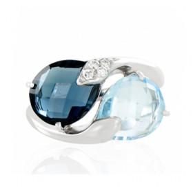 Bague or 18 carats et topazes et diamant 0,06 carat pour femmes