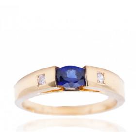 Bague en or jaune 18 carats, diamant 0,03 carat et saphir ovale pour femmes