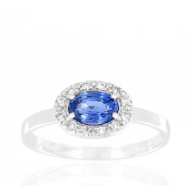 Bague en or 18 carats, diamant 0,10 carat et saphir ovale pour femmes