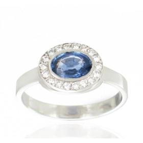 Bague en or 18 carats, diamant 0,22  carat et saphir ovale pour femmes