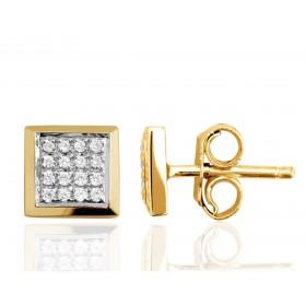 Boucle d'oreille or jaune et diamant pour homme.