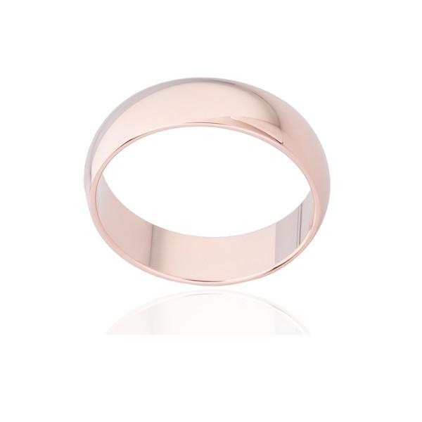 Bague alliance ATELIER P. en or rose 18 carats ruban bombé pour femme - 6 mm