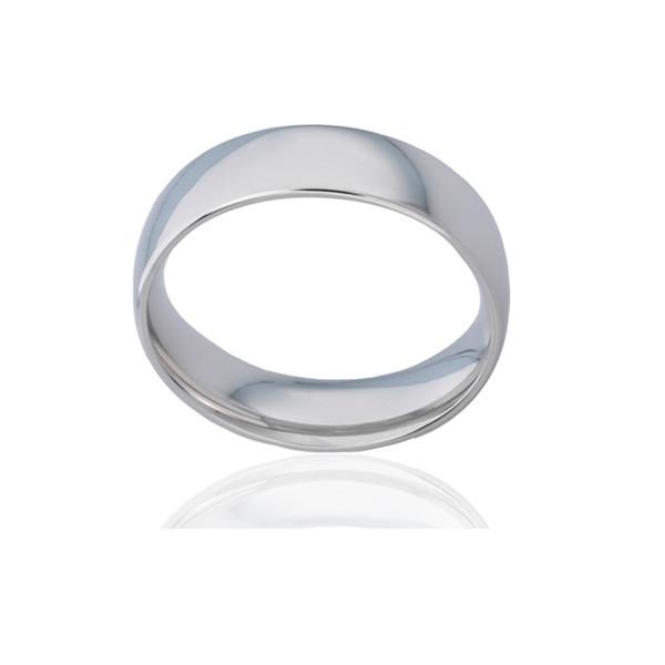 Bague alliance ATELIER P. en or blanc 18 carats ruban bombé pour femme - 6 mm