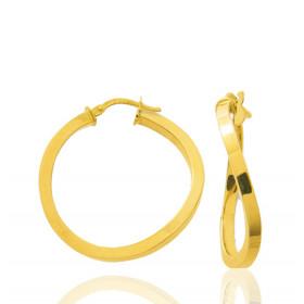 boucles d'oreilles femme créoles or jaune 18 carats de diamètre 27 mm