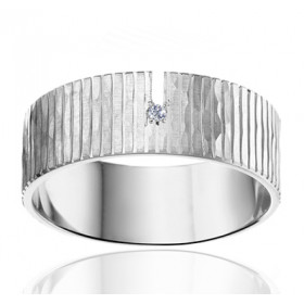 Bague alliance Angeli Di Bosca en or blanc 18 carats et diamant 0,010 carat