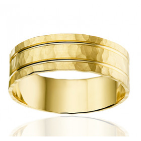 Bague alliance Angeli Di Bosca en or jaune 18 carats martelé