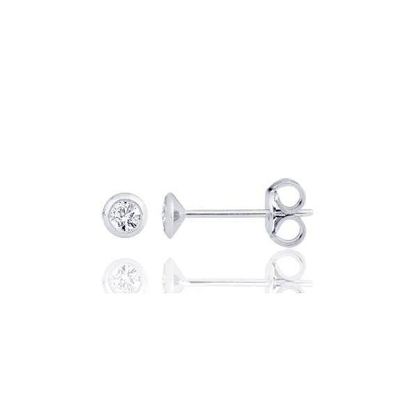 design de qualité 14c97 0d0cd Boucle d'oreille or blanc 18 carats et diamant serti clos 0,10 carat pour  homme