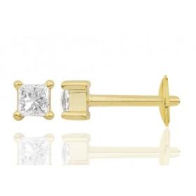 Boucle oreille homme carrée en or jaune diamant 0,20 carats.