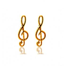 Boucles d'oreilles en or jaune 18 carats clé de sol, fermoir poussette
