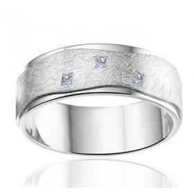 Bague alliance Angeli Di Bosca en or blanc 18 carats feuilleté 6,5 mm et diamants 0,03 carats