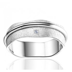 Bague alliance Angeli Di Bosca en or blanc 18 carats feuilleté 6,5 mm et diamants 0,01 carats