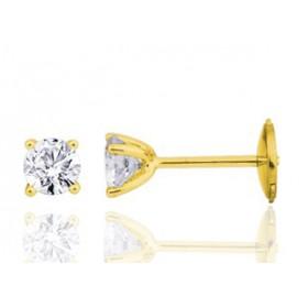 Boucle oreille homme carrée en or jaune diamant 0,30 carats.