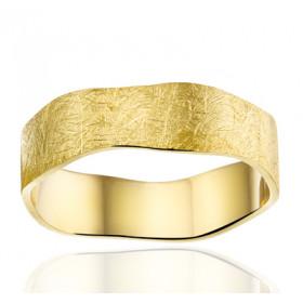 Bague alliance Angeli Di Bosca en or jaune 18 carats feuilleté 6,5 mm