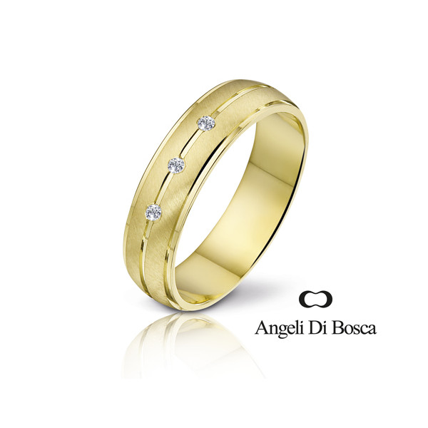 Bague alliance Angeli Di Bosca en or 18 carats et diamants 0,03 carat
