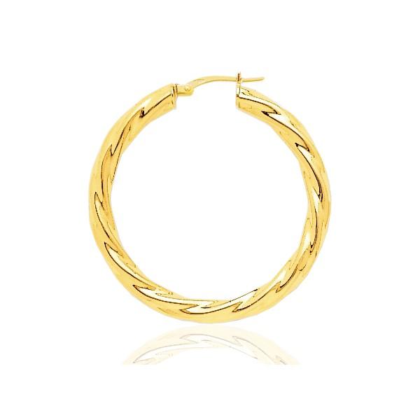 boucles d'oreilles femme créoles torsadées en or 18 carats