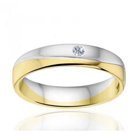 Bague alliance Angeli Di Bosca deux ors 18 carats et diamant - 4,5 mm