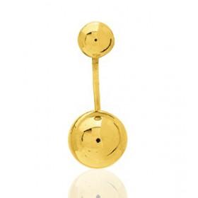Boucles d'oreilles en or jaune double boules pour femme