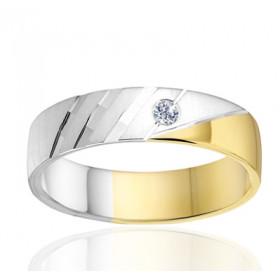 Bague alliance Angeli Di Bosca deux ors 18 carats et diamant - 5 mm