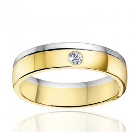 Bague alliance Angeli Di Bosca deux ors 18 carats et diamant 0,05 carat - 5 mm
