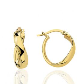boucles d'oreilles femme créoles vrillées or jaune 18 carats de diamètre 35 mm