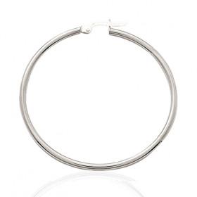 boucles d'oreilles femmes or blanc 18 carats créoles 40 mm