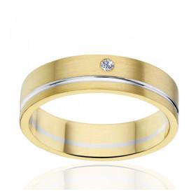 Bague alliance Angeli Di Bosca deux ors 18 carats et diamant 0,02 carat - 5 mm
