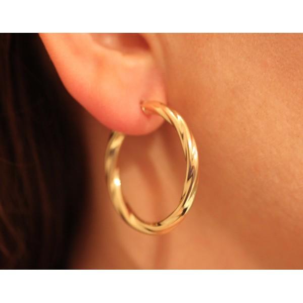 boucles d'oreilles torsadées en or jaune pour femmes