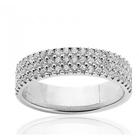 Bague alliance multi-rangs en or blanc 18 carats et diamant 0,75 carat